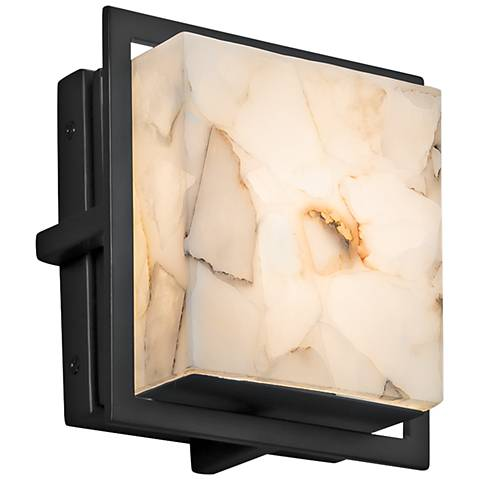 "Alabaster Rocks! Avalon 6 1/2""H Black LED Outdoor Wall Light"