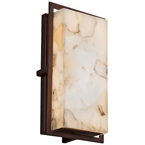 "Alabaster Rocks!™ Avalon 12""H Bronze LED Outdoor Wall Light"