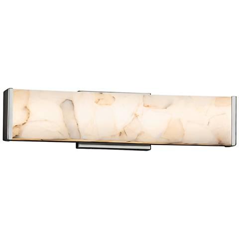 "Alabaster Rocks!™ Latitude 18 1/2""W Nickel LED Bath Light"