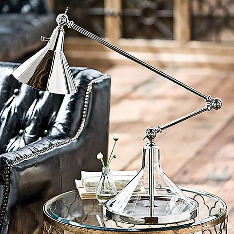 Regina Andrew Funnel Beaker Polished Nickel Desk Lamp