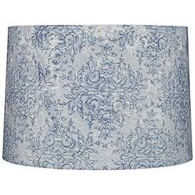 Blue And Gray Fl Drum Lamp Shade 15x16x11 Spider