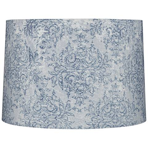 Blue and Gray Floral Drum Lamp Shade 15x16x11 (Spider)