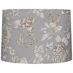 Print pattern lamp shades lamps plus brown and creme floral drum lamp shade 15x16x11 spider aloadofball Image collections