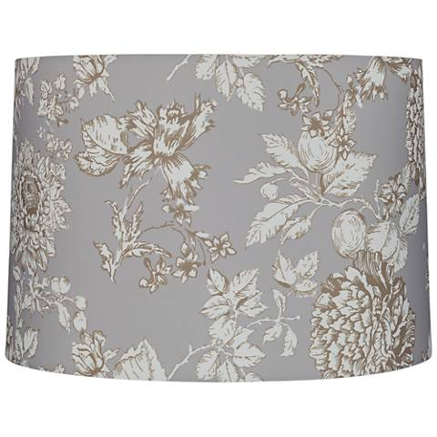 Brown and Creme Floral Drum Lamp Shade 15x16x11 (Spider)