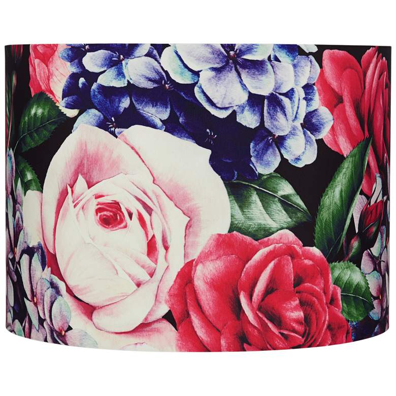 Multi-Color Rose Floral Drum Lamp Shade 15x16x11 (Spider)