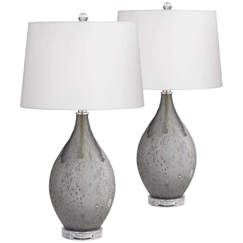 Volcanic Shimmer Smoke Gray Table Lamps Set of 2