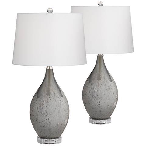 Volcanic Shimmer Smoke Gray Table Lamp Set of 2