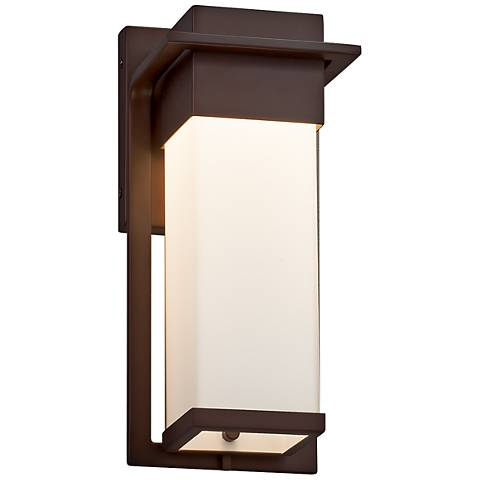 "Fusion Pacific 12""H Opal Glass Bronze LED Outdoor Wall Light"