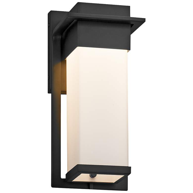 """Fusion Pacific 12""""H Opal Glass Black LED Outdoor Wall Light"""