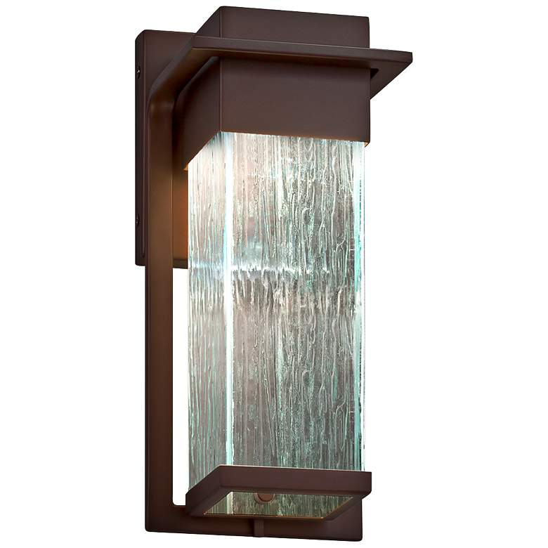 "Fusion Pacific 12""H Rain Glass Bronze LED Outdoor Wall Light"