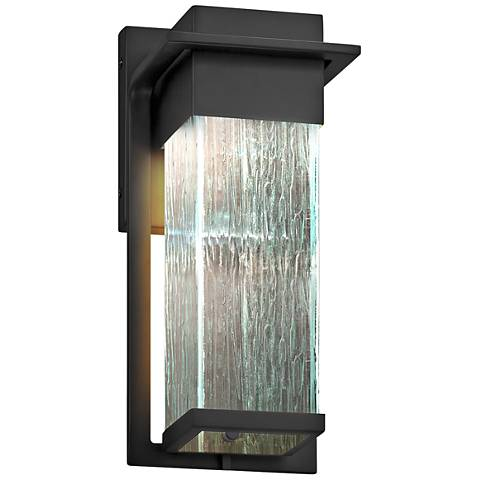"Fusion Pacific 12"" High Rain Glass Black LED Outdoor Wall Light"