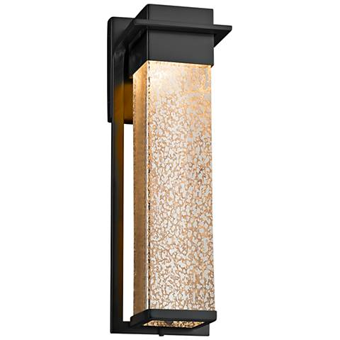 """Fusion™ Pacific 16 1/2""""H Glass Black LED Outdoor Wall Light"""
