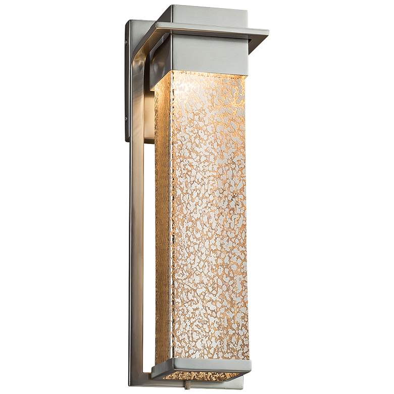"""Fusion Pacific 16 1/2"""" High Glass Nickel LED Outdoor Wall Light"""