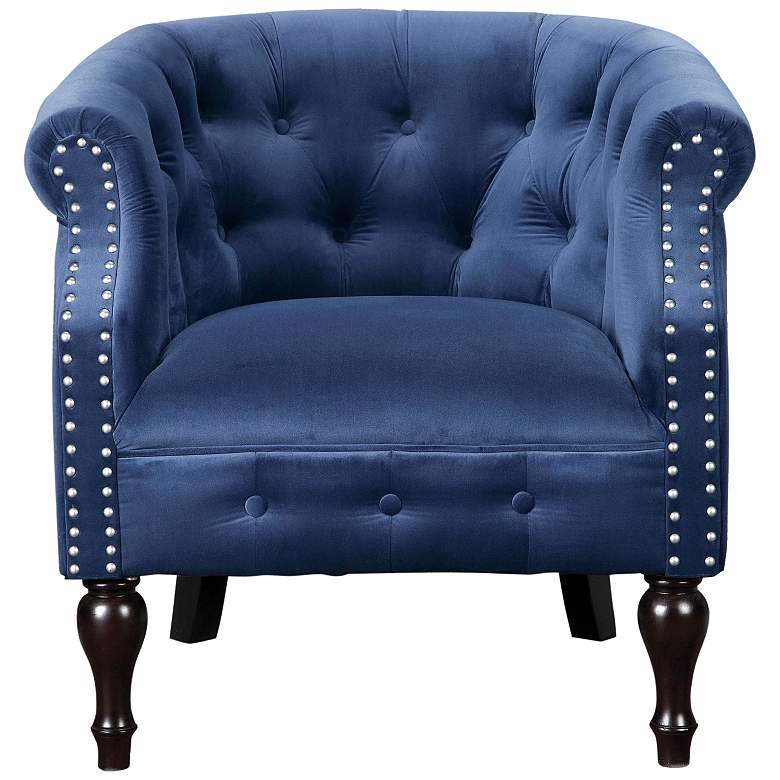 Uttermost Aviana Royal Blue Velvet Button-Tufted Armchair
