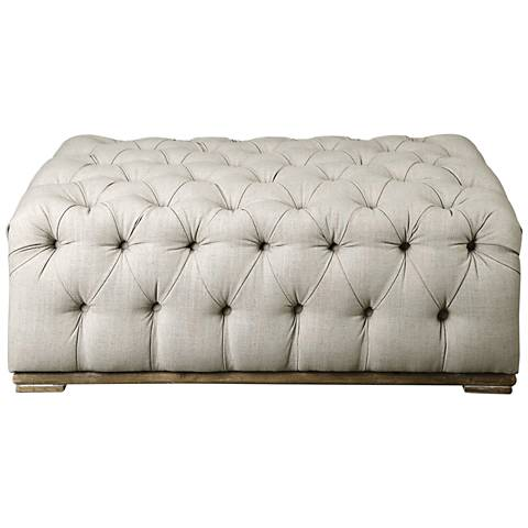 Uttermost Kaniel Antique White Fabric Button-Tufted Bench