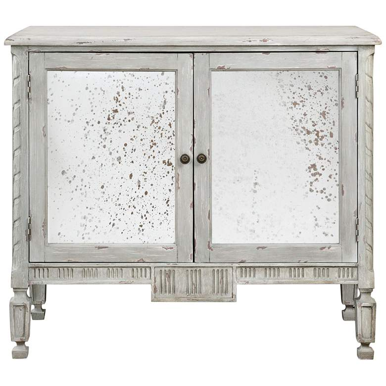 """Okorie 42"""" Wide Warm Blue And Gray 2-Door Console Cabinet"""