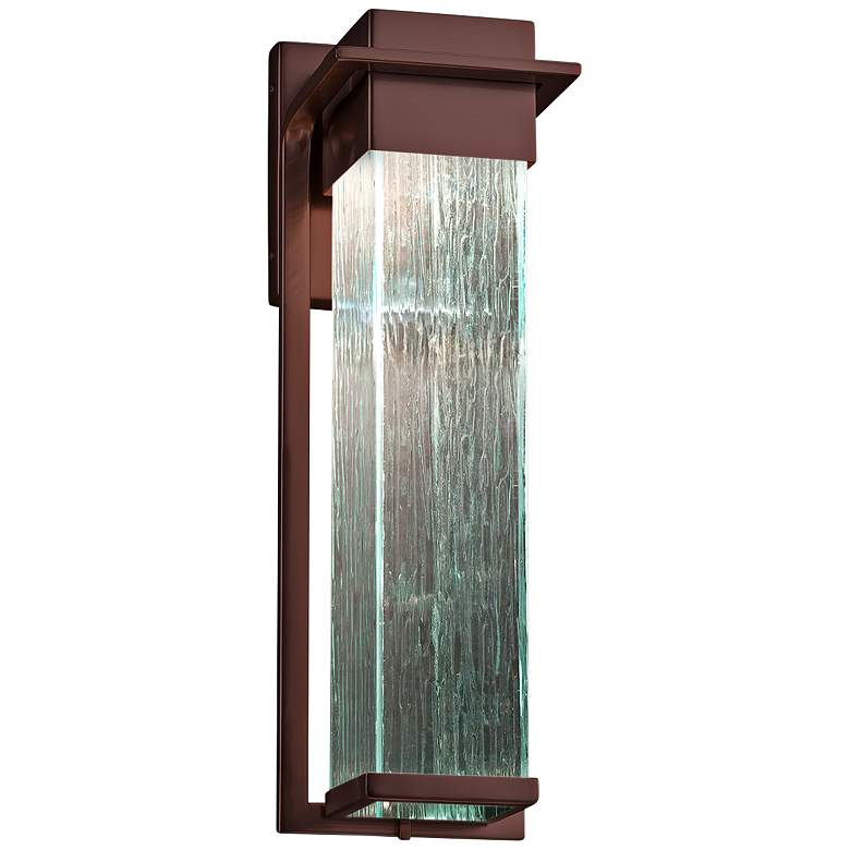 "Fusion Pacific 16 1/2""H Rain Glass Bronze LED Outdoor Wall Light"