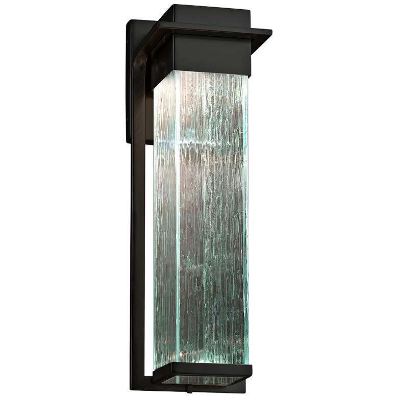 """Fusion Pacific 16 1/2""""H Rain Glass Black LED Outdoor Wall Light"""