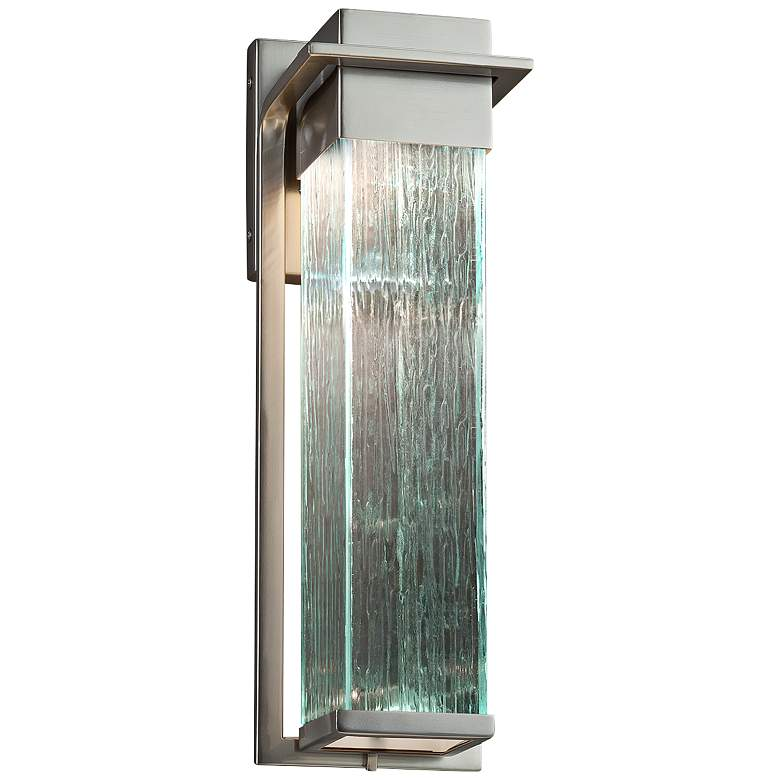 """Fusion Pacific 16 1/2""""H Rain Glass Nickel LED Outdoor Wall Light"""