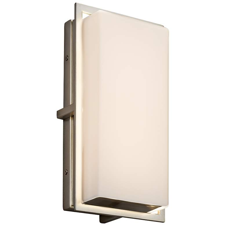 """Fusion Avalon 12"""" High Opal Glass Nickel LED Outdoor Wall Light"""