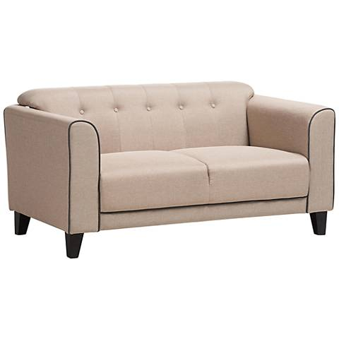 Lottie Beige Fabric Button-Tufted 2-Seater Loveseat