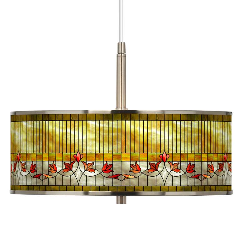 """Tiffany-Style Lily Giclee Glow 16"""" Wide Pendant Light"""