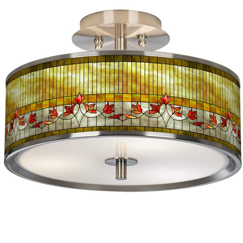 """Tiffany-Style Lily Giclee Glow 14"""" Wide Ceiling Light"""