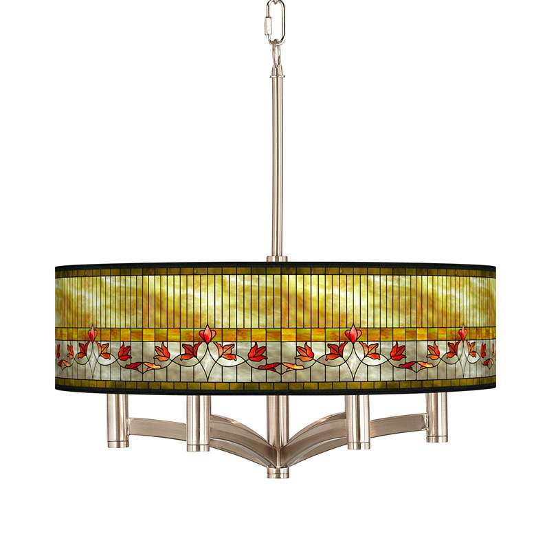 Tiffany-Style Lily Ava 6-Light Nickel Pendant Chandelier