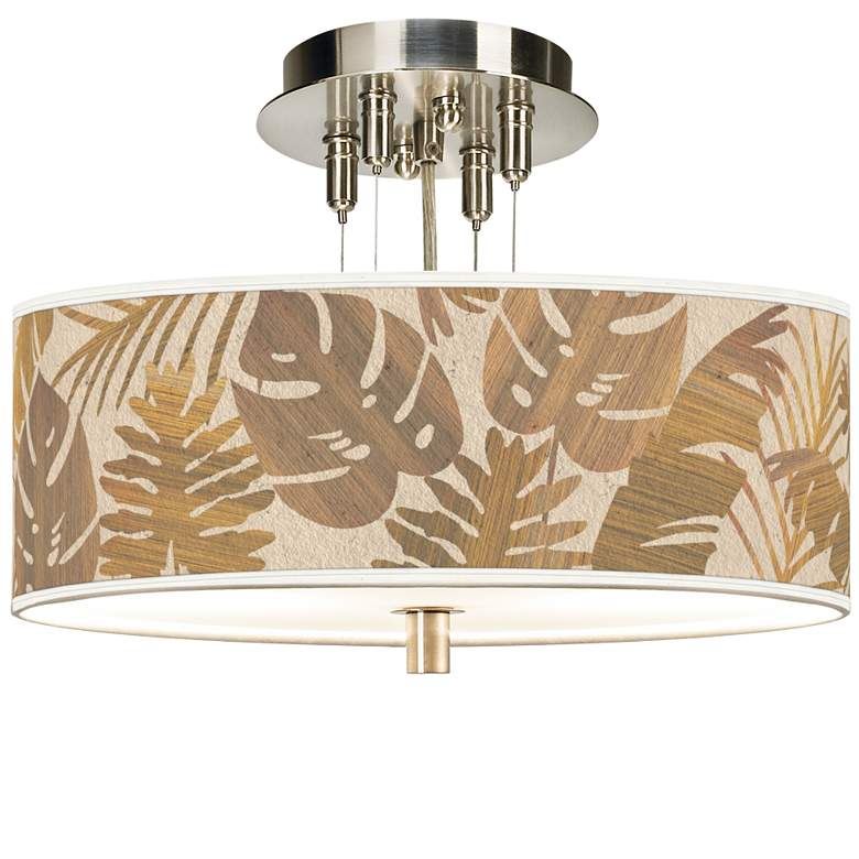 """Tropical Woodwork Giclee 14"""" Wide Ceiling Light"""