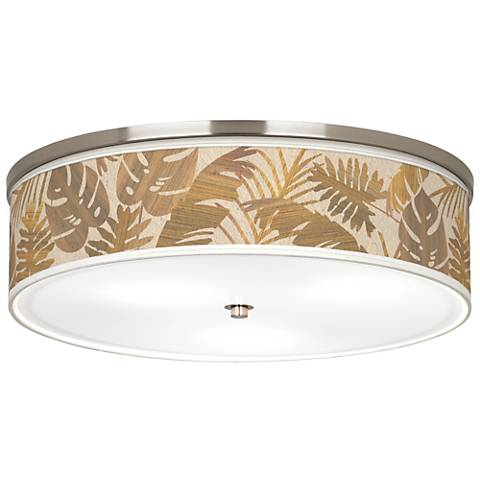 "Tropical Woodwork Giclee Nickel 20 1/4"" Wide Ceiling Light"