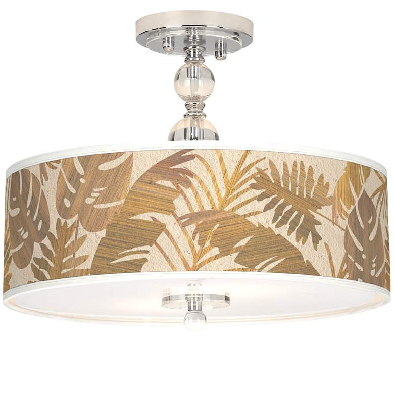 "Tropical Woodwork Giclee 16"" Wide Semi-Flush Ceiling Light"