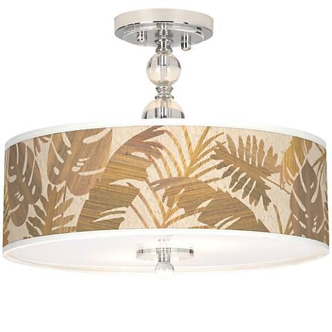"Tropical Woodwork Giclee 16"" Wide Semi-Flush Ceiling Light"