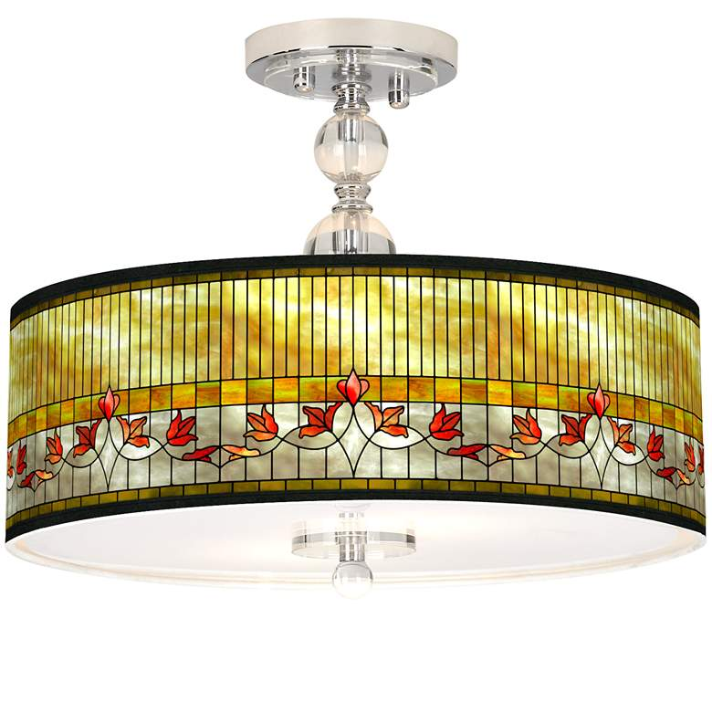 """Tiffany-Style Lily Giclee 16"""" Wide Semi-Flush Ceiling Light"""