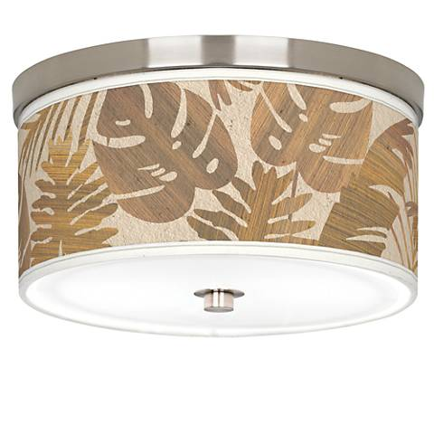 "Tropical Woodwork Giclee Nickel 10 1/4"" Wide Ceiling Light"