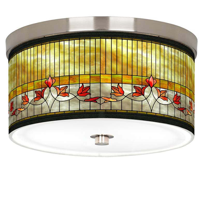 """Tiffany-Style Lily Giclee Nickel 10 1/4""""W Ceiling Light"""