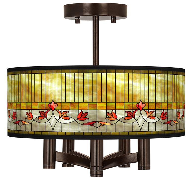 Tiffany-Style Lily Ava 5-Light Bronze Ceiling Light