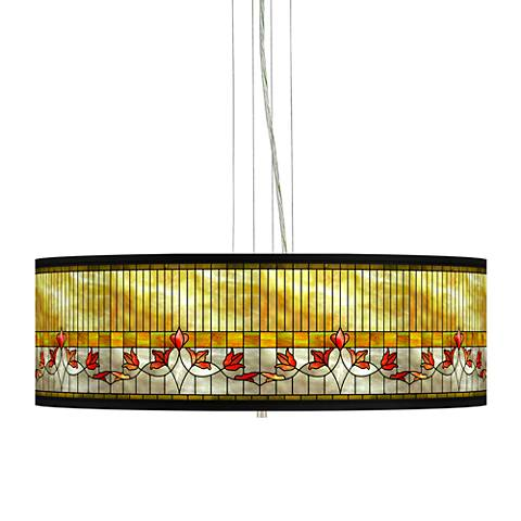 "Tiffany-Style Lily Giclee 24""W 4-Light Pendant Chandelier"