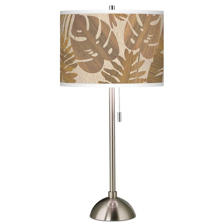Tropical Woodwork Giclee Brushed Nickel Table Lamp