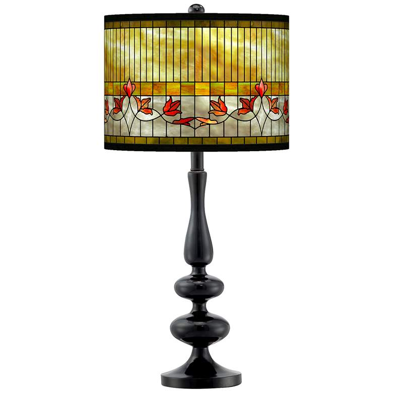 Tiffany-Style Lily Giclee Paley Black Table Lamp
