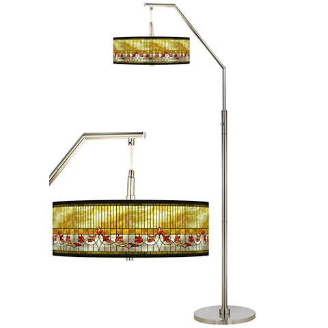 Tiffany-Style Lily Giclee Shade Arc Floor Lamp