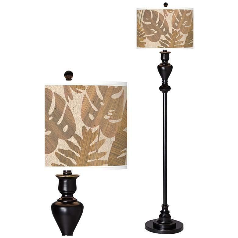 Tropical Woodwork Giclee Glow Black Bronze Floor Lamp