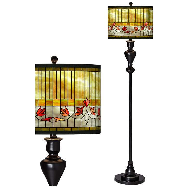 Tiffany-Style Lily Giclee Glow Black Bronze Floor Lamp