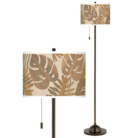 Tropical Woodwork Giclee Glow Bronze Club Floor Lamp