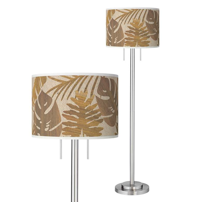 Tropical Woodwork Giclee Brushed Nickel Garth Floor Lamp
