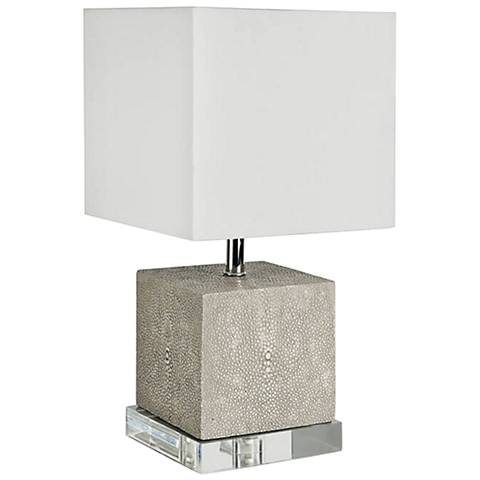 """Sacha 15 1/2"""" High Ivory Gray Shagreen Accent Table Lamp"""