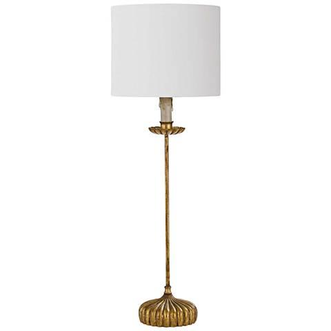 Clove Stem Gold Stem Buffet Table Lamp with Linen Shade