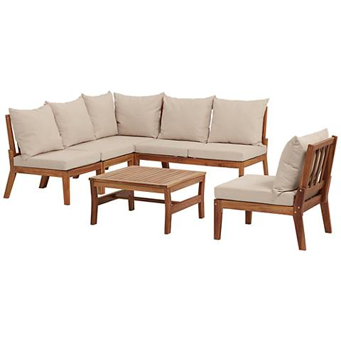 Milos Natural Wood 6-Piece Outdoor Lounge Set