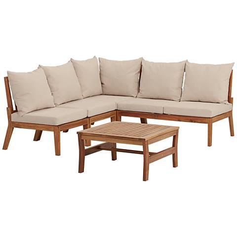Milos Natural Wood 5-Piece Outdoor Lounge Set