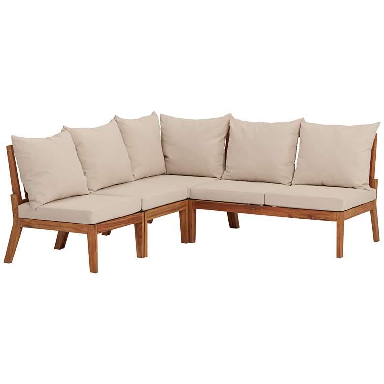 Milos Natural Wood 4-Piece Outdoor Lounge Set