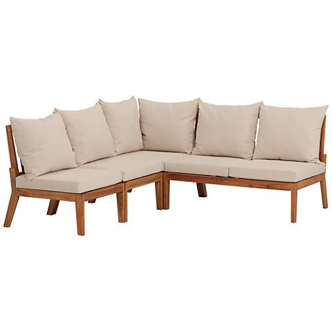 Milos Natural Wood 4-Piece Outdoor Lounge Set